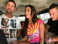Two plus one on bangbus with a girl that willing
