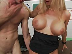 Sideways fucking big tits teacher on her own desk
