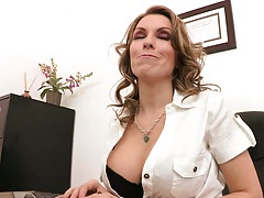 Big tits office biatch Courtney Cummz gets undressed and made to suck dick