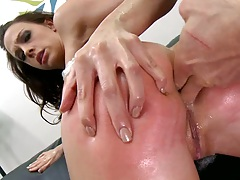 Red ass from spanking gets large fat cock into ass