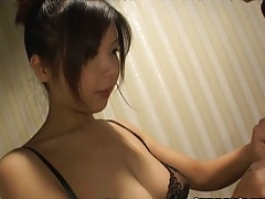 Asian in her bra sucking small asian penis in a bath