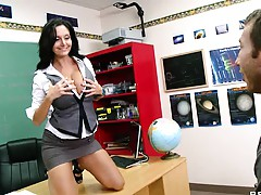 Big tits teacher Ms Adams taking off her shirt