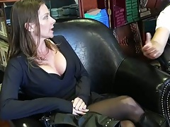 Milf brunette going to the kitchen to have a drink