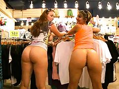 Hiot chicks double teaming a dudes cock in store