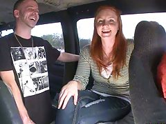 Redhead got picked up and shows nipple on bangbus
