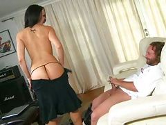 Hot brunette all natural milf riding the hunter