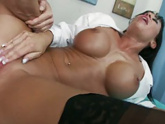 Big tits doctor Savannah spreading legs on bed