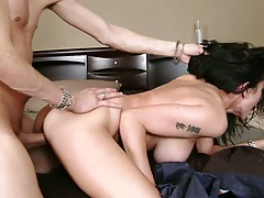 Hands behind her back hardcore doggy style penetration