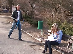 Picking up young college sweetheart with Abigaile Johnson outdoors