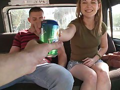 Cute teen in mini skirt picked up on bangbus