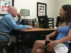 Office latina Mimi Allen in her for audition interview