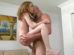 Petite teen in the air fuck on a large cock that barely fits in her pussy