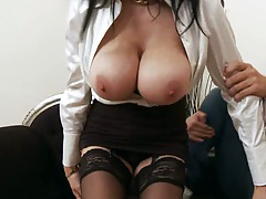 Big tits milf Louise Jenson in the stockings getting touched