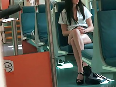 Spying up Kimmy Kay upskirt on a public bus ride