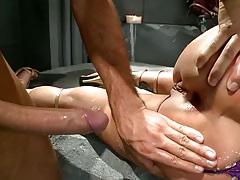 Close up ass spreading Shyla Stylez sitting on dick
