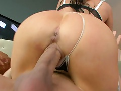 Cowgirl sex with latina milf Vanilla DeVille and pulled aside panties