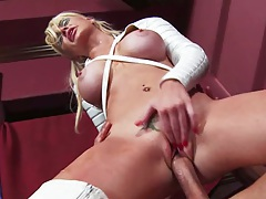 Reverse cowgirl cock riding blonde with Alexis Ford