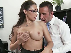 Big tits asian office slut Miko Lee go topless