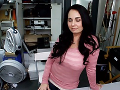 Holly West latina posing and taking off her clothes in the back room first sex video