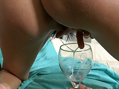 Internal pussy cumshot and the sperm flows out of her