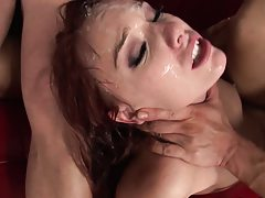 Two cocks scare the hell out of this whore while the cum on
