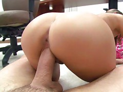 Reverse cowgirl sitting on dick and shaved pussy close