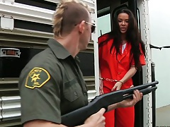 Prison transfer with Sophia Santi and a guard in uniform get nasty