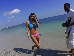 Outdoor bikini cutie Mikayla spreading ass and sucking dick on beach