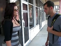 Big tits public milf mama pick up outdoors in dress