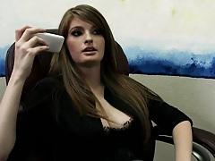 Brunette big tits slut is a sport agent