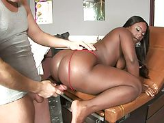 Doggy style fuckign a big round black ass on chair