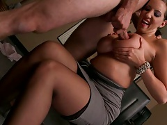 Cum dripping cock penetrates busty bitch on desk