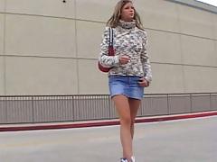 Outdoor in a tight miniskirt Monica SweetHeart