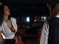 Big tits Jasmine Jae a waitress sucks dick