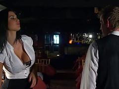 Big tits Jasmine Jae a waitress sucks dick
