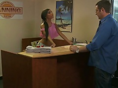 Lela Star working at the office going to the back room
