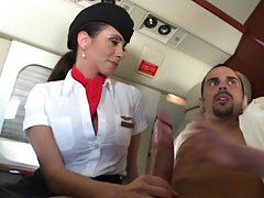Hand job and a blowjob from horny flight attendants