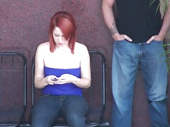 Chick gets violated at the busstop