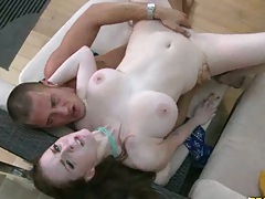 Big natural tits redhead sitting on dick and doggy style