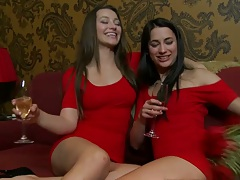 Two hot lesbians in red dresses making out in grou psex