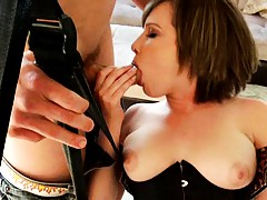 Slut plays with her trimmed pussy on a sex swing