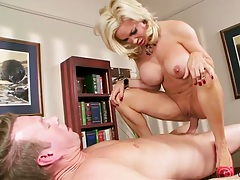Cowgirl big tits office sex with horny milf whore Diamond Foxxx