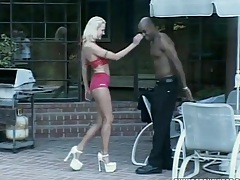 Small tits Vivanica sucking black dick by the pool, outdoors