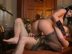 Cowgirl from porn star in stockings Abbie Cat