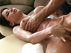 Masturbation with oil during private massage with big tits Aleksa Nicole