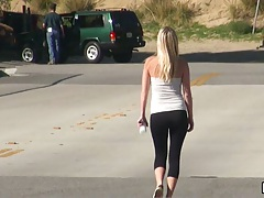 Casi James gets violated while jogging outdoors