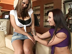 Big tits lesbian Alysa and Dominno getting naughty together