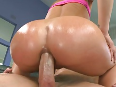 Anal sex with oil from Sheena Shaw in cowgirl position