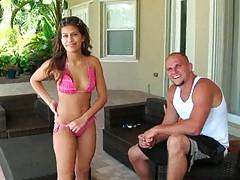 Cute latina near pool in tight sexy bikini