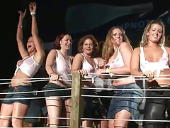 Spring break bonanza party and dancing with wet shirts